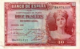 Spain P.86  10 Pesetas 1935 Xf - [ 2] 1931-1936 : Repubblica