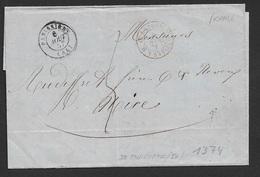 1857 LAC France Pannissiere - Sardaigne Antibes A Nice - Cachet Français - Marcophilie (Lettres)