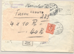 Schweiz - 1945 - 40 Rp Taxed And Rejected PP-cover Basel Isrl. Frauenverein - Strafportzegels