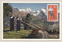 Schweiz - 1955 - 20c Alphornbläser Mit Eiger - Maximumkaarten