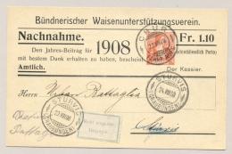 Schweiz - 1908 - 10c Helvetia On Nachnahme Karte From Chur To Sturvis - Impayé - Postwaardestukken