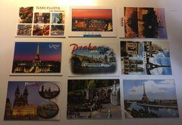 Lotto Cartoline - Lourdes Paris Barcelona Tour Eiffel Praha - Cartes Postales