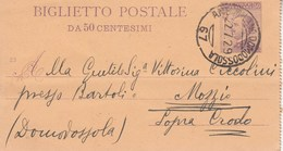 R77 - Biglietto Postale Da 50 Centesimi- Del 22 Luglio 1929 Da Milano A Mozzio -Sopra Crodo . - Interi Postali