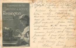 SOUVENIR DE LA MACHINE A ECRIRE REMINGTON EXPOSITION DE 1900  CARTE PRECURSEUR TIMBREE EN 1900 - Advertising