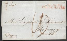 1827 LAC Transatlantique  Etats Unis, Charleston  A Tourcoing, France - Colonies Par Le Havre - Etats-Unis