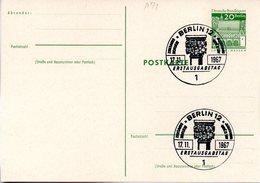 """WB Amtl. Ganzsachen-Postkarte Sonderstempelbeleg P71 Wst. """"Torhalle In Lorsch"""" 20(Pf) Grün, ESSt 17.11.67 BERLIN 12 - Postales - Usados"""