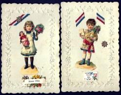 2 CPA ANCIENNES FRANCE- MILITARIA- RUBANS TRICOLORES AVEC GARCONNET ET FILLETTE- POUPÉE- FLEURS- GAUFRÉES - Guerre 1914-18