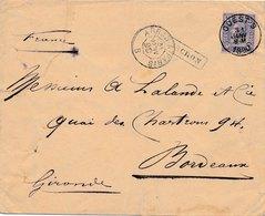 Lettre Ouest Griffe Mouscron Ambulant Arras A Paris Pour Bordeaux - 1883 Leopold II