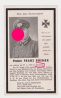 SOLDAT ALLEMAND GUERRE 40/45 FRANZ BOEMER WEYWERTZ BUTGENBACH 1910 1944 Wehrmacht - Announcements