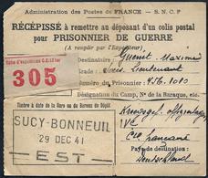 Récépissé D'un Envoi De Colis Postal Pour Prisonnier De Guerre - Sucy  Bonneuil - 29 Dec 1941 - Marcophilie (Lettres)