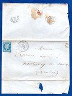 Plis De St Michel En L Herm -  Pour Fontenay Le Comte  -  26 Juillet 1858 --  Boite Rurale C - Postmark Collection (Covers)