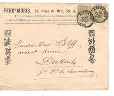 TP 47(2) S/L.Pub.F.Moris Importateur Objets Chine&Japon C.Anvers 20/12/1890 Tarif Préférentiel V.Gr.Duché Luxembourg - 1884-1891 Leopoldo II