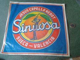 ANTIGUA ETIQUETA OLD LABEL NARANJAS SINUOSA JESÚS CAPELLA NEBOT SUECA VALENCIA 1966 ESCASA SPAIN ESPAGNE ESPAÑA ORANGE - Publicidad