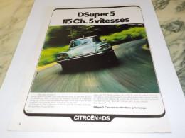 ANCIENNE PUBLICITE VOITURE DS CITROEN 1972 - Cars
