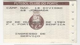 Soccer Ticket * Portugal * 1989 * F. C. Porto - S. L. Benfica * 6ª Jornada - Tickets D'entrée