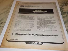 ANCIENNE PUBLICITE VOITURE DS De  CITROEN 1972 - Cars