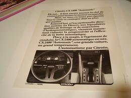 ANCIENNE PUBLICITE VOITURE LA CX 2400  DE CITROEN  1980 - Cars