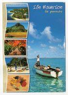Ile  Maurice --2001---Pirogue (animée) --Pointe D'Esny  --Beau Timbre Poisson Au Verso - Mauritius