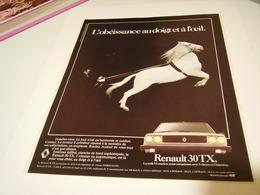 ANCIENNE PUBLICITE VOITURE 30 TX  RENAULT   1981 - Cars