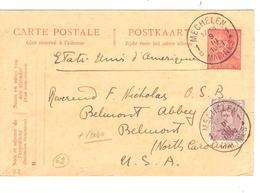 Entier CP 62+TP 140 Repiquage + Verso TP Fiscal C.Mechelen 9/3/1921 V.USA 1988 - Ganzsachen