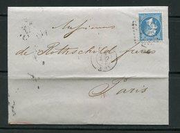 Lettre De 1865 De LYON (68)- Y&T N°22-  DE ROTHSCHILD FRERES - 1862 Napoleone III