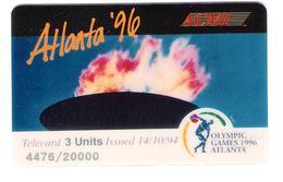 USA - ACMI Prepaid Calling Card - Atlanta 96 - Olympic Games - 3 Units - Mint - Vereinigte Staaten
