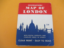 Plan De LONDRES/ Mao Of London /Geographers'/With Postal Districts And Complete Index To Streets/Vers 1930-50  PGC184 - Cartes Routières