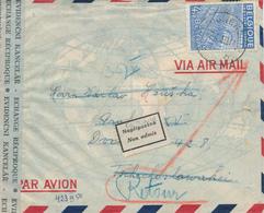 ZZ843 - Lettre PAR AVION TP Exportation BEGIJNENDIJK 1950 Vers La Tchécoslovaquie - Etiquette De RETOUR Non Admis - 1948 Export