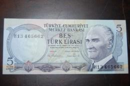 1976 Türkei 5 Lira  / 6. Emisyon 2. Tertip Serie : H / UNC - Turkey
