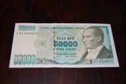 1995 Türkei 50,000  Lira  / 7. Emisyon 2. Tertip Serie : L  / UNC - Turquie