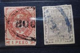 ESTADOS UNIDOS DE COLOMBIA 1865 - 1866. BOGOTA CANCELS. 1 PESO / 10 Cs. USED. COLOMBIE. - Colombia