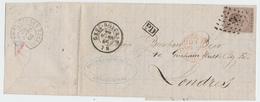 ZZ848 - Lettre TP 19 Losange De Points 156 GREZ DOICEAU 1866 Vers LONDRES -Entete Papeteries De BASSE WAVRE - 1865-1866 Linksprofil