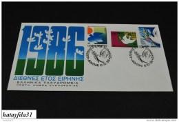 Grichenland  1986  FDC  Mi. 1637 - 1639    Int. Jahr Des Friedens       ( T - 106 ) - FDC