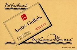 Buvard  Boisson  André  Gallois  Vin  Mousseux - Buvards, Protège-cahiers Illustrés