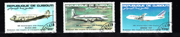 Djibouti 1983 Mi Nr 363 - 365 Vliegtuigen, Airplane, Air-France,  Bloch 220, DC 4 , Boeing 747 - Djibouti (1977-...)