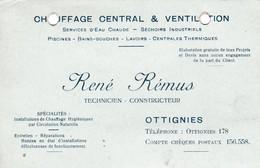 Ottignies ,carte Publicitaire ,René Rémus ,chauffage Central Et Ventilation - Ottignies-Louvain-la-Neuve