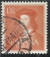SPAIN ESPAÑA SPAGNA 1952 FERDINAND THE CATHOLIC FERDINANDO IL CATTOLICO PESETAS 1.50p USATO USED OBLITERE' - 1951-60 Gebraucht