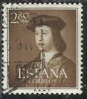 SPAIN ESPAÑA SPAGNA 1952 FERDINAND THE CATHOLIC FERDINANDO IL CATTOLICO PESETAS 2.80p USATO USED OBLITERE' - 1931-Aujourd'hui: II. République - ....Juan Carlos I