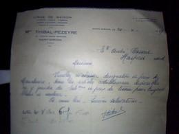Facture Linge De Maison  Thibal Pezeyre A  Saint  Girons  Arege Annee 1949 - France