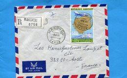MARCOPHILIE-lettre REC Gabon->Françe 1981 Cad  Makokou- Stamp N°310 Rénovation Train Avion - Gabón (1960-...)