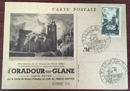Carte Postale. Oradour-sur-Glane. Comité De Secours Des Familles Martyres. Cachet. - Weltkrieg 1939-45