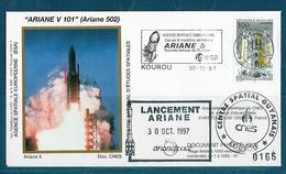 ESPACE - ARIANE Vol Du 1997/10 V101 - CNES - 3 Documents - FDC & Commémoratifs