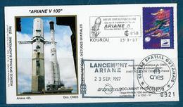 ESPACE - ARIANE Vol Du 1997/09 V100 - CNES - 4 Documents - FDC & Commémoratifs