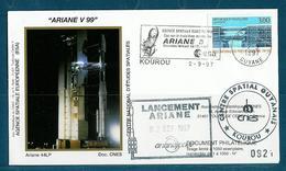 ESPACE - ARIANE Vol Du 1997/09 V99 - CNES - 4 Documents - FDC & Commémoratifs