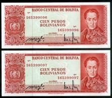 "BOLIVIA BILLETES; 1962 – 100 PESOS: ""NUEVA MONEDA, EL BOLIVIANO"". - Bolivia"