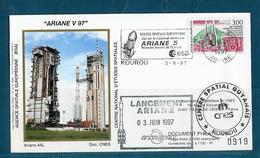 ESPACE - ARIANE Vol Du 1997/06 V97 - CNES - 4 Documents - FDC & Commémoratifs