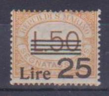 SAN MARINO    1943    SEGNATASSE SOPRASTAMPATO   SASS. 64  MNH XF - Segnatasse