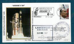 ESPACE - ARIANE Vol Du 1997/03 V94 - CNES - 3 Documents - FDC & Commémoratifs