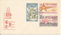 Czechoslovakia FDC 4-12-1962 12th Communist Party Congress Complete Set Of 3 With Cachet - FDC