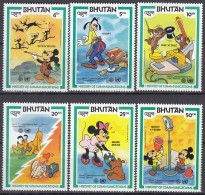 BHUTAN, 829-834, Postfrisch **, Weltkommunikationsjahr: Walt-Disney-Figuren 1984, Donald Duck - Bhutan